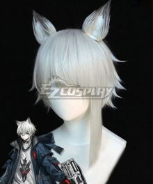 Arknights Aosta White Cosplay Wig - Wig + Ears
