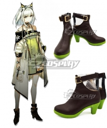 Arknights Kal'tsit Black Green Cosplay Shoes