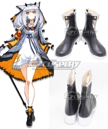 Arknights Ptilopsis Black Shoes Cosplay Boots