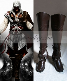 Assassin's Creed II Ezio Auditore Brown Shoes Cosplay Boots - B Edition