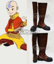 Avatar The Last Airbender Aang Brown Shoes Cosplay Boots