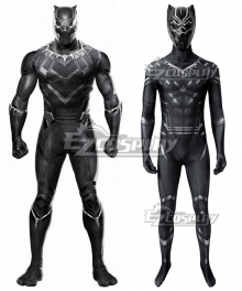 Marvel Captain America: Civil War Black Panther T'Challa Printed Zentai Jumpsuit Cosplay Costume
