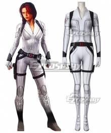 Marvel 2020 Movie Black Widow Natasha Romanoff White Suit Zentai Jumpsuit Cosplay Costume