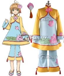 Cardcaptor Sakura: Clear Card Sakura Kinomoto Chinese Style Lotus Flower Pattern Dress Cosplay Costume