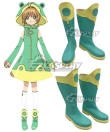 Cardcaptor Sakura: Clear Card Sakura Kinomoto Frog Battle Suit Green Shoes Cosplay Boots