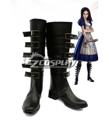 Alice: Madness Returns Cosplay Black Shoes Cosplay Boots