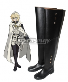 Seraph of the End Vampire Reign Owari no Serafu Mikaela Hyakuya Hyakuya Mikaera Flat Black Shoes Cosplay Boots
