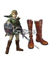 The Legend of Zelda Zeruda no Densetsu Twilight Princess Link Brown Shoes Cosplay Boots
