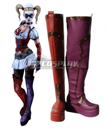 DC Comics Batman Harley Quinn Arkham City Red Shoes Cosplay Boots