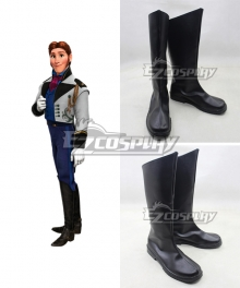 Frozen Hans Disney Black  Shoes Cosplay Boots