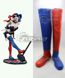 DC Batman Harley Quinn Blonde Anime Red Blue Cosplay Boots