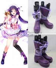 Love Live Valentine's Day Maid Nozomi Tojo Purple Cosplay Boots