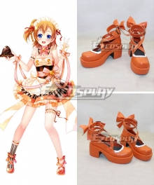 Love Live Valentine's Day Maid Honoka Kousaka Orange Cosplay Shoes