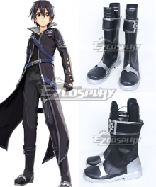 Sword Art Online Hollow Realization SAO Kirigaya Kazuto Kirito Game Black Shoes Cosplay Boots