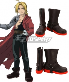 Fullmetal Alchemist Edward Elric Black Shoes Cosplay Boots