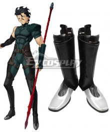 Fate Zero Diarmuid Ua Duibhne Lancer Spear Black Shoes Cosplay Boots