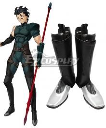 Fate Zero Diarmuid Ua Duibhne Lancer Spear Black Shoes Cosplay Boots