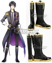 Tsukiuta. Hajime Mutsuki Six Gravity January Stage Black Shoes Cosplay Boots