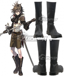 Drakengard 3 Dito Black Shoes Cosplay Boots