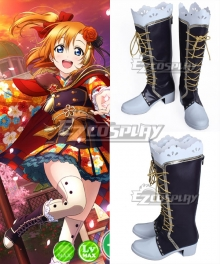 Love Live! Lovelive! Taisho Roman Honoka Kosaka Black Shoes Cosplay Boots