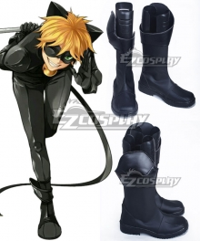 Miraculous Ladybug Cat Noir Black Shoes Cosplay Boots