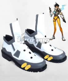 Overwatch OW Tracer Lena Oxton White and Grey Cosplay Shoes