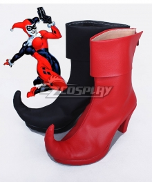 DC Comics Batman Arkham Asylum Harley Quinn Joker Black And Red Shoes Cosplay Boots