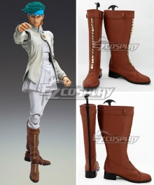 JoJo's Bizarre Adventure Diamond Is Unbreakable Rohan Kishibe Brown Shoes Cosplay Boots