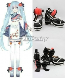 Vocaloid Hatsune Miku Black Cosplay Shoes - B Edition