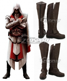 Assassin's Creed II Ezio Auditore Brown Shoes Cosplay Boots - A Edition