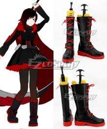 RWBY Leader of Team RWBY Ruby Rose High Caliber Sniper Scythe HCSS Crescent Rose Black Shoes Cosplay Boots