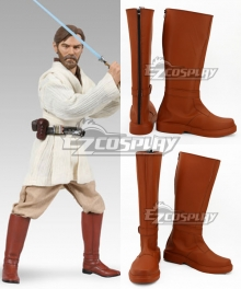 Star Wars Obi Wan Kenobi Jedi Brown Version Shoes Cosplay Boots