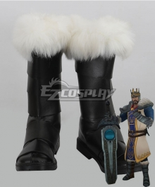 League of Legends King Tryndamere The Barbarian King Black Shoes Cosplay Boots