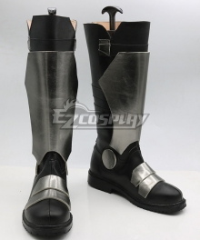 Overwatch OW Soldier 76 John Jack Morrison Black Silver Shoes Cosplay Boots-New Verson