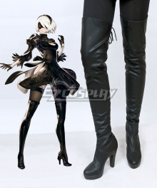 NieR: Automata 2B YoRHa No.2 Type B Black Shoes Cosplay Boots