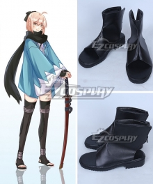 Fate Grand Order Sakura Saber Okita Souji Black Shoes Cosplay Boots