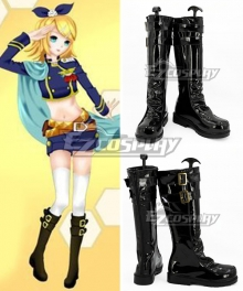 Vocaloid Kagamine Rin Uniform Black Shoes Cosplay Boots