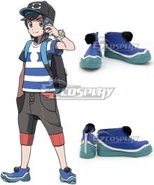 Pokemon Sun and Moon Hero Elio Blue Cosplay Shoes