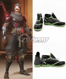 Overwatch OW Genji Shimada Oni Black Cosplay Shoes