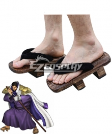 One Piece Fujitora Issho Clogs Brown Cosplay Shoes