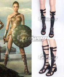 DC Wonder Woman Diana Prince Black Shoes Cosplay Boots