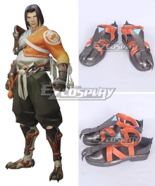 Overwatch OW Young Hanzo Red Cosplay Shoes