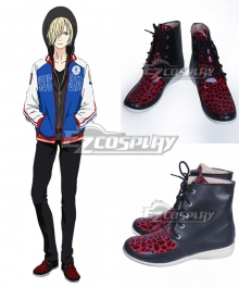 Yuri on Ice YURI!!!on ICE Plisetsky Yuri Black Red Cosplay Shoes - B Edition