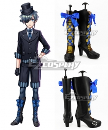 Black Butler Kuroshitsuji Movie: Book of the Atlantic Ciel Phantomhive Black Shoes Cosplay Boots