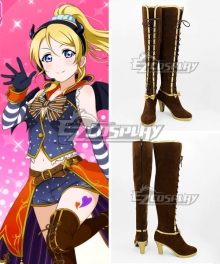 Love Live! Eli Ayase Ellie Brown Shoes Cosplay Boots