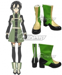 Sword Art Online Ordinal Scale Asada Shino Sinon Movie Green Shoes Cosplay Boots
