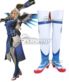 Overwatch OW Mercy Angela Ziegler  Combat Medic Ziegler Blue Shoes Cosplay Boots
