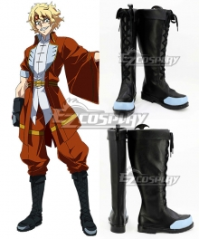 Chronos Ruler Blaze Black Shoes Cosplay Boots