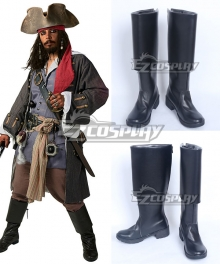Pirates of the Caribbean: Dead Men Tell No Tales Captain Jack Sparrow Black Shoes Cosplay Boots