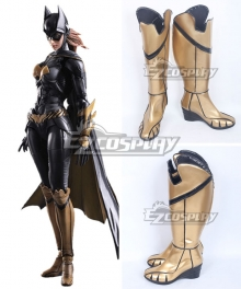 DC Batman Arkham Knight Batgirl Katherine Kathy Kane Golden Shoes Cosplay Boots
